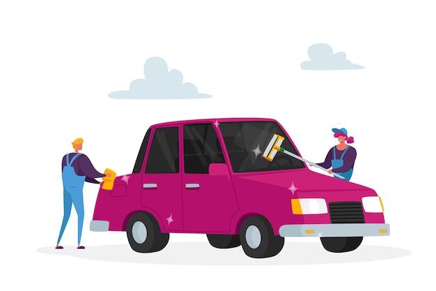 Reinigungsunternehmen mitarbeiter männliche oder weibliche charaktere arbeitsprozess. autowasch-service-konzept
