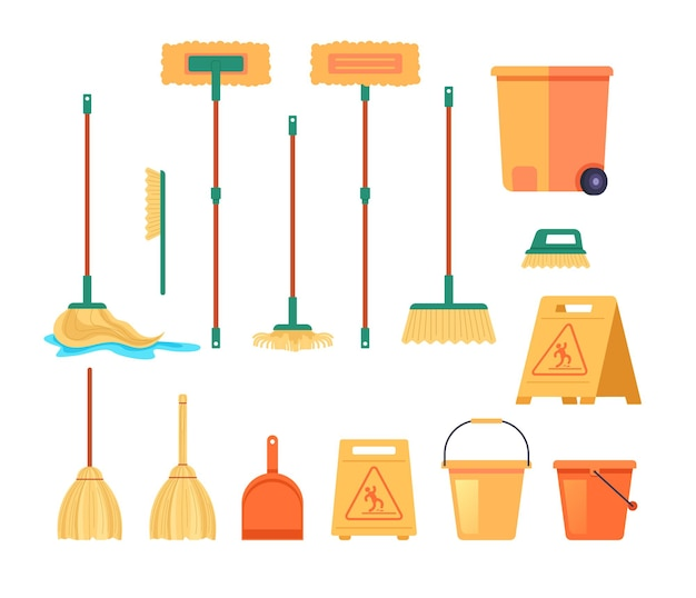 Reinigungswerkzeuge besenmopp liefert isoliertes set. cartoon-illustration