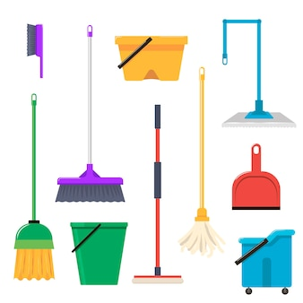 Reinigungswerkzeuge flache illustrationen eingestellt