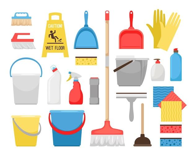 Reinigungswerkzeuge für den haushalt. haushaltswerkzeugikonen für haus- und büroreinigung, eimer und schaum, waschmittelflaschen und waschmittel, kehrbürste und eimervektorillustration