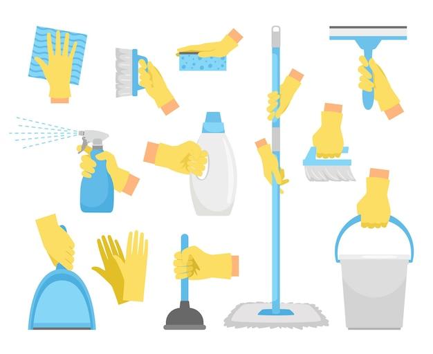 Reinigungswerkzeuge mit den händen.