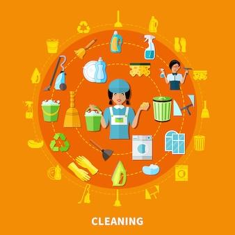 Reinigungswerkzeuge runde zusammensetzung