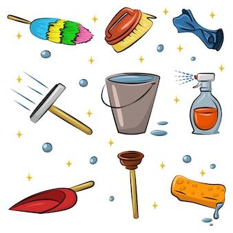 Reinigungswerkzeugkarikatursatz lokalisiert auf weiß