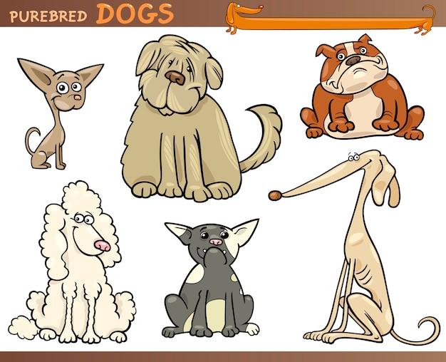 Reinrassige hunde cartoon-set