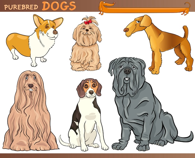 Reinrassiger hundekarikatur-illustrationssatz