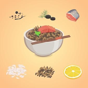 Reis in einer schüssel mit fisch und zitrone