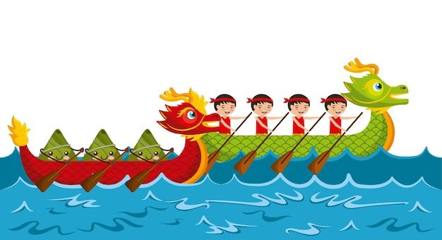 Reis-mehlkloßfestival des karikaturruderteams chinesisches