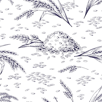 Reis nahtlose muster. handgezeichnete pflanzen- und körnertextur, skizze von reisgetreide für lebensmittelpakete. vektor-illustration schwarz-weiß-doodle bio-lebensmittel-hintergrund