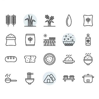 Reis-symbol und symbolsatz im umriss