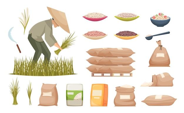 Reis taschen. landwirtschaftliche produkte brauner und weißer reis, der lebensmittelzutaten-vektorillustrationen transportiert. reis im sacksack, gesunde erntelandwirtschaft