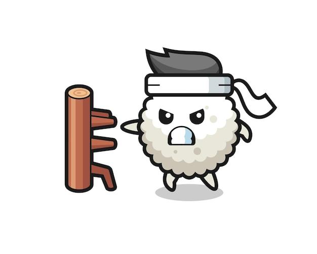 Reisball-cartoon-illustration als karate-kämpfer, süßes stildesign für t-shirt, aufkleber, logo-element