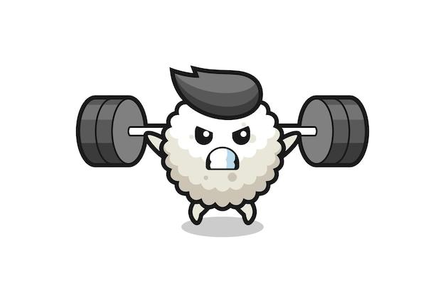 Reisball-maskottchen-cartoon mit einer langhantel, süßes design für t-shirt, aufkleber, logo-element