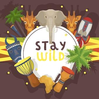 Reise afrika banner illustration. bleib wild, tiere wie elefant, giraffe. palmen, ethnisch bunte schamanische masken, musiktrommeln, karte. urlaub, tourismus.