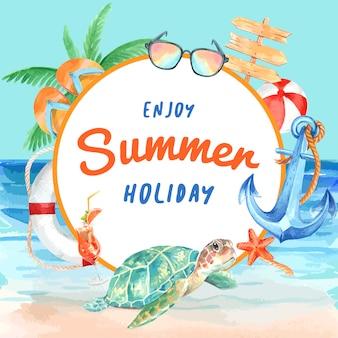 Reise am feiertagssommer der strand palme-ferienrahmenkranz