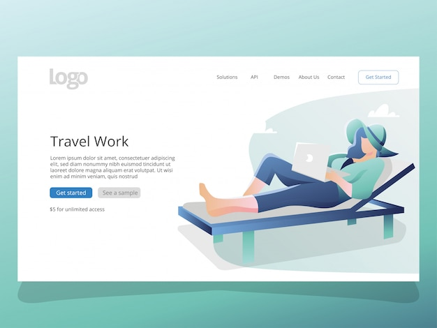 Reise-arbeits-illustration für zielseitenschablone