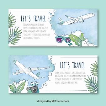 Reise-banner im aquarell-stil