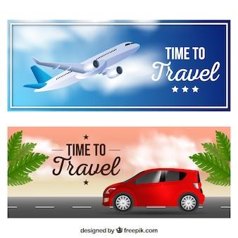 Reise-banner im realistischen stil