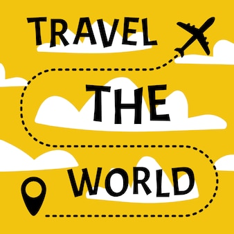 Reise-banner. mit dem flugzeug um die welt.