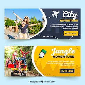 Reise-banner mit fotografie