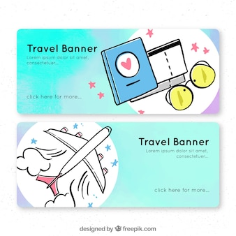 Reise-banner mit handgezeichneten elementen