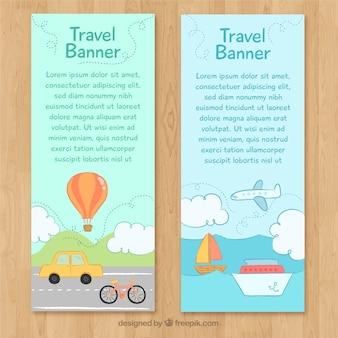 Reise-banner mit handgezeichneten transporte