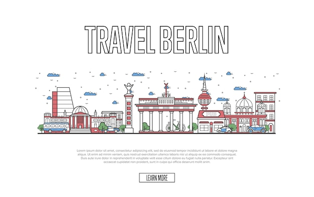 Reise berlin web template im linearen stil