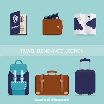 Reise-elemente sammlung in flachen stil