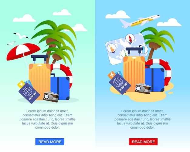 Reise-flache werbungs-fahnen eingestellt mit platz für förderungstext.