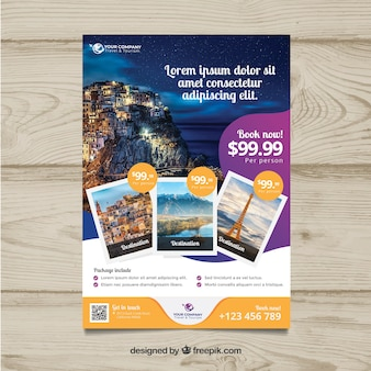 Reise-Flyer mit Foto von Destinationen