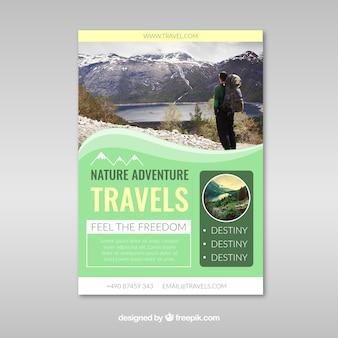 Reise-flyer mit zielfotografie