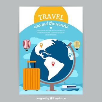 Reise-flyer-vorlage mit flachen design