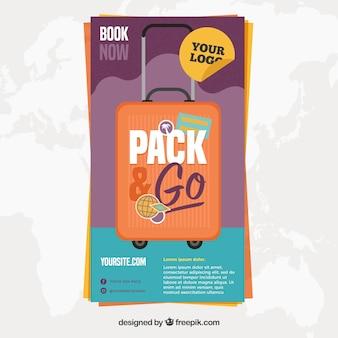 Reise-flyer-vorlage mit gepäck