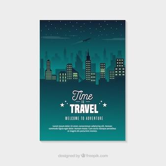 Reise-flyer-vorlage mit nacht stadt