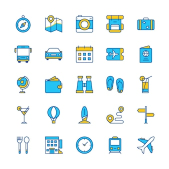 Reise-ikonen stellten blaues orange web-app reise-kompass-karten-bus-zug-hotel ein