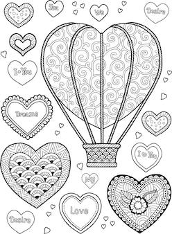 Reise in einer ballon-malbuchseite für erwachsene herzform-ballon-set von doodle-herzen