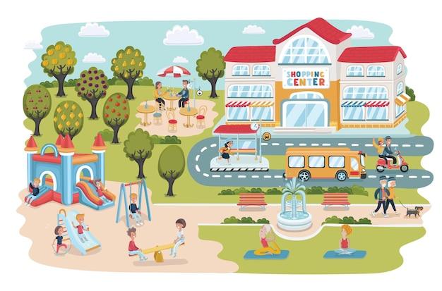 Reise-infografik-design-elemente seebad landschaft infografik-elemente mit menschen schwimmen a...
