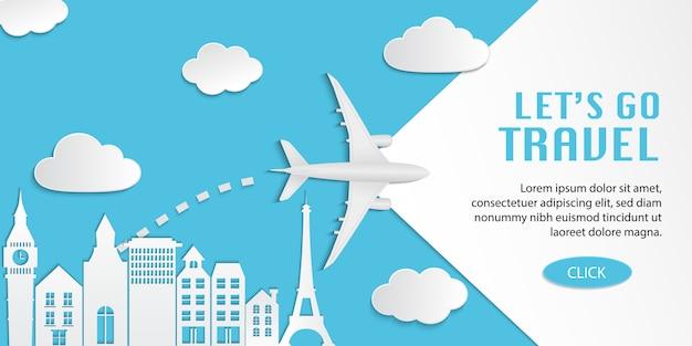 Reise-infografik, reise-webdesign-illustration mit flugzeug, das über stadt auf blauem hintergrund fliegt
