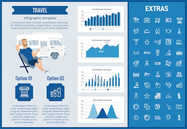 Reise-infografik-vorlage, elemente und symbole