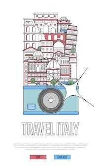Reise-italien-website mit kamera