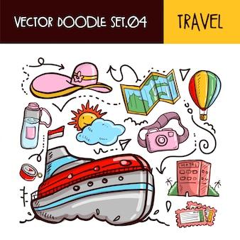 Reise-kritzeleien-symbol. vektor-illustration festgelegt