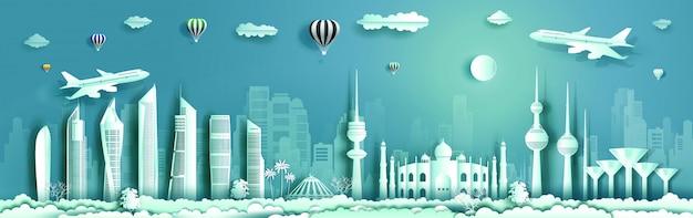 Reise-kuwait-markstein mit modernem gebäude, skyline, wolkenkratzer mit dem flugzeug.