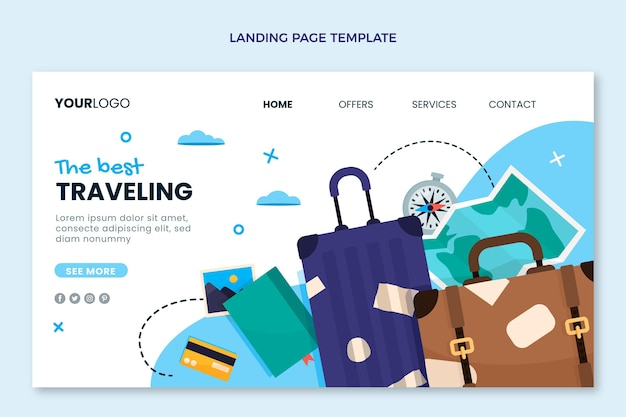Reise-landingpage im flachen design