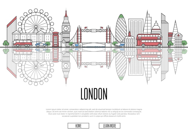 Reise nach london poster im linearen stil