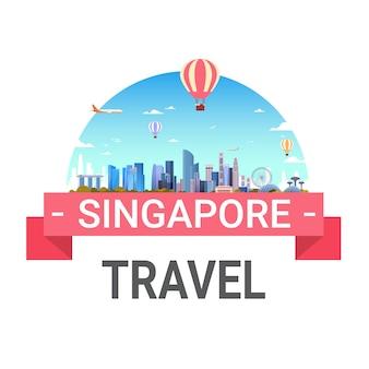 Reise nach singapur-beschriftung lokalisiert mit berühmten singapurischen marksteinen