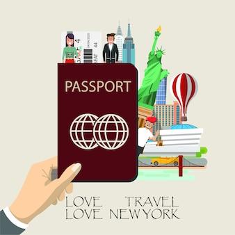 Reise new york infografik.
