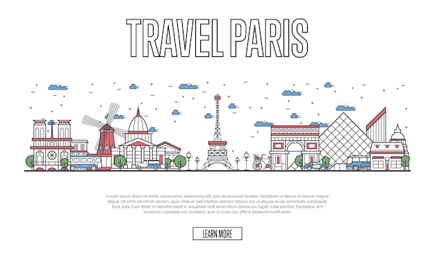 Reise paris website im linearen stil