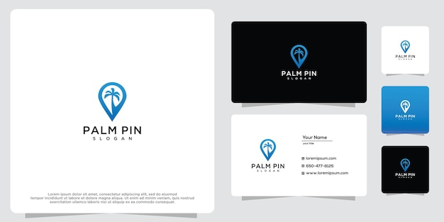 Reise-pin und palme moderne geometrische kreative logo-design-inspiration