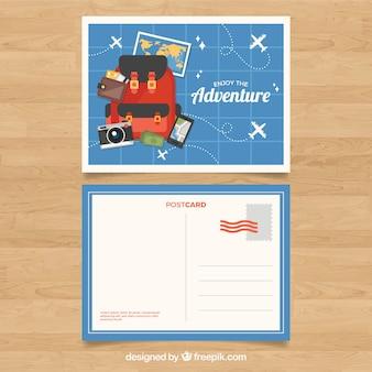 Reise postkarte vorlage mit adventrure stil
