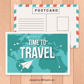 Reise postkarte vorlage mit papierflieger