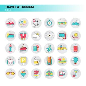 Reise-reise-tourismus-ikonen-gesetzte ferien-ferien